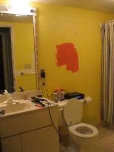 This is the before of their bathroom. Obviously I had tried out a paint color.